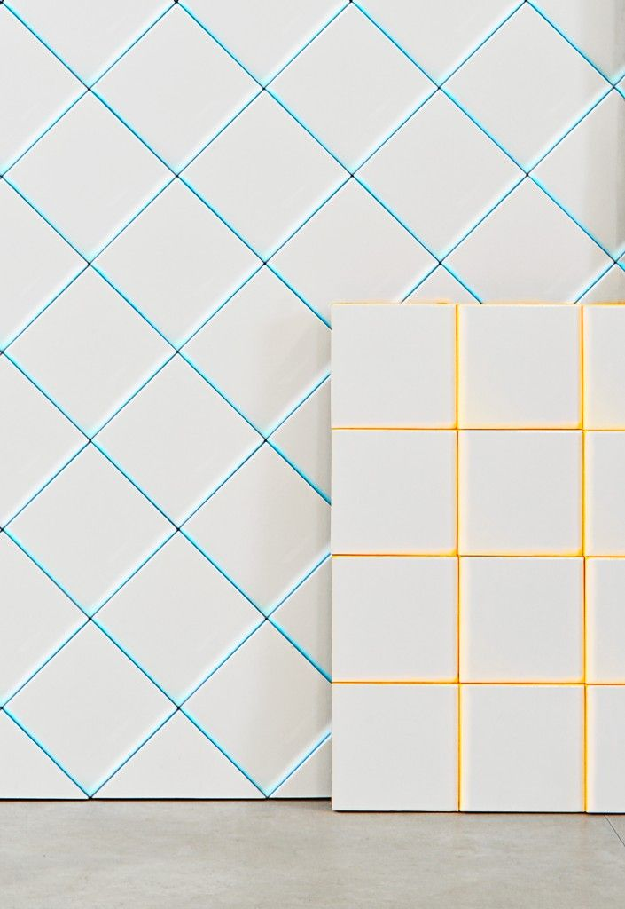 """Scales"" tiles - neon edged white tiles"