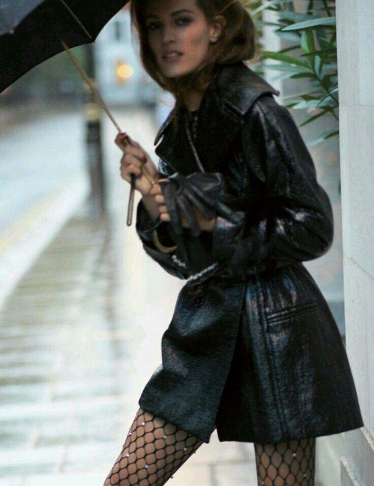 leather jacket + fishnet stockings