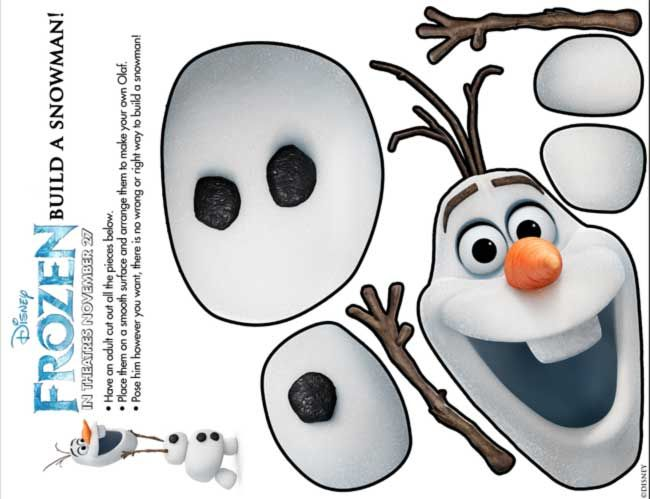 Download and print this Disney's Frozen-themed activity kit, including mazes, memory game, and build-a-snowman.