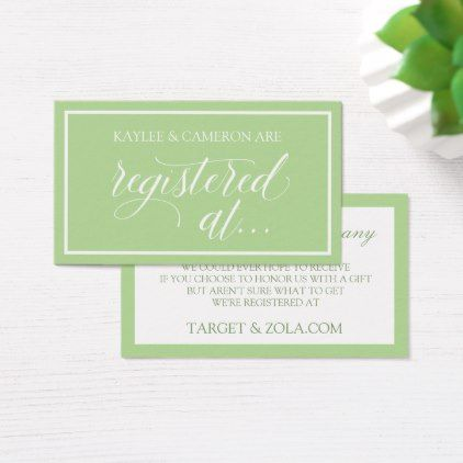 Wedding Registry - Wishing Well Cards - Pale Green - elegant wedding gifts diy accessories ideas