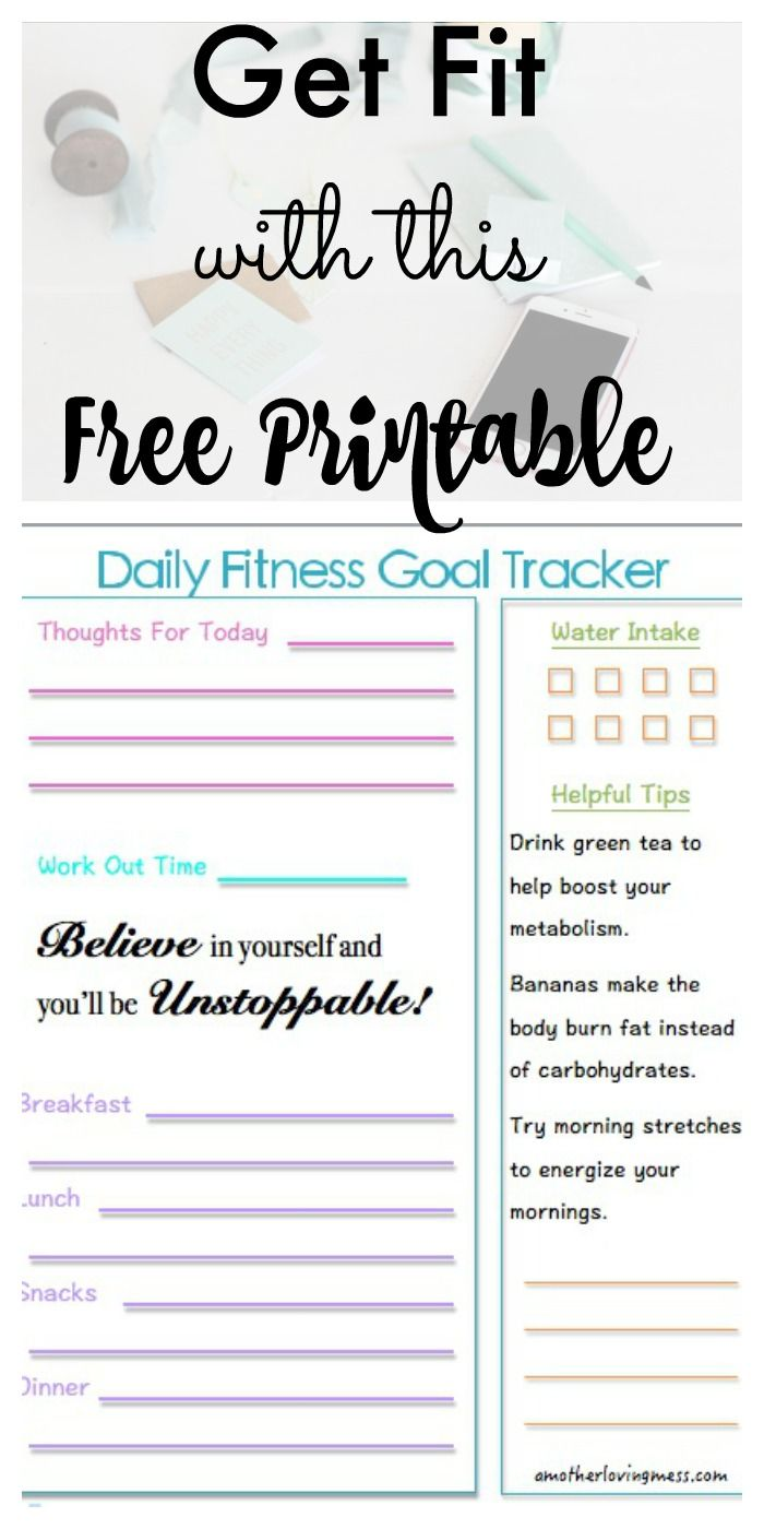 Great printable to help you keep track of your daily fitness goals!