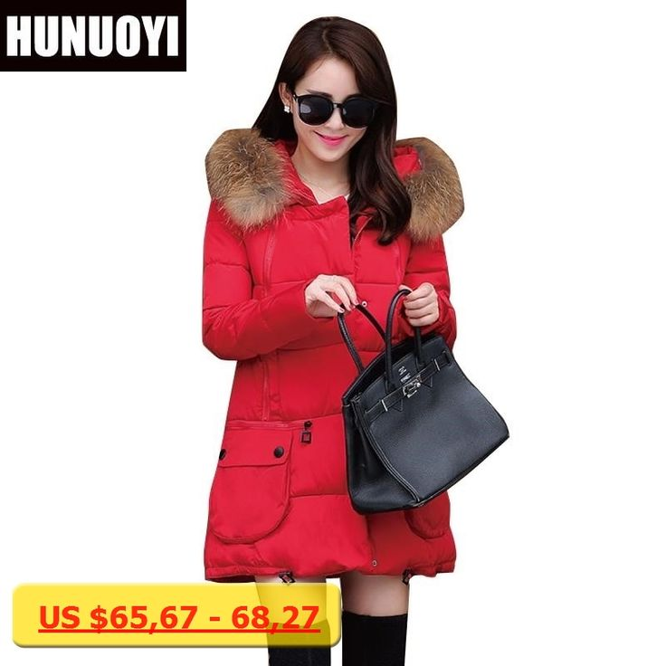 2016 Winter Manteau Femme Fur Collar Hooded Plus Size Jacket Women Winter Jacket Thick Yellow Black Rose Red Blue Outerwear HY05