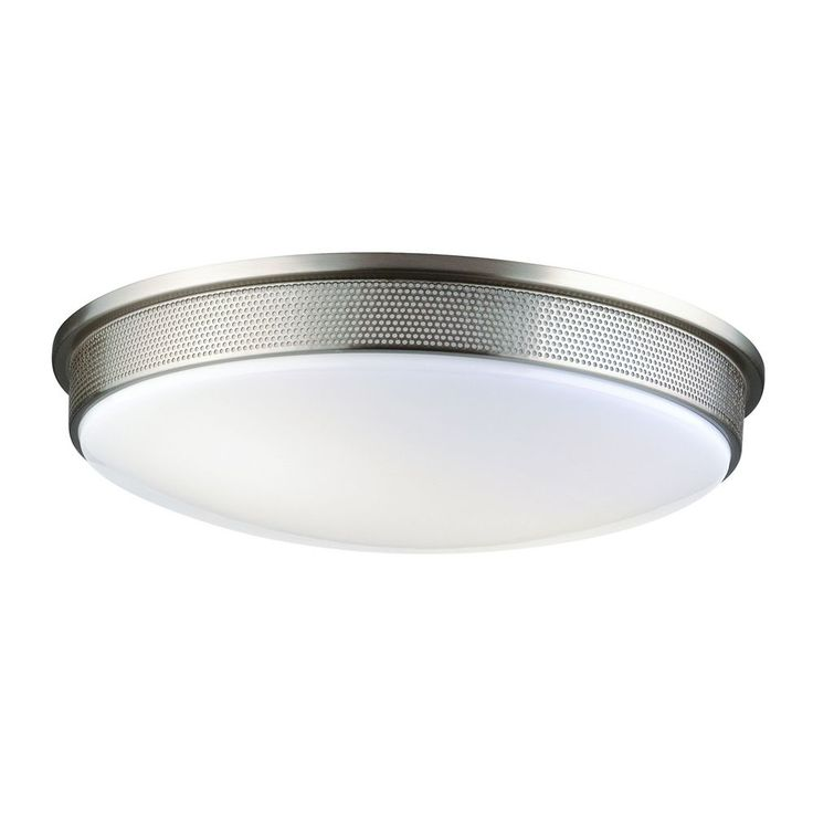 Philips Lighting Modern Flushmount Light with White Glass in Satin Nickel Finish…