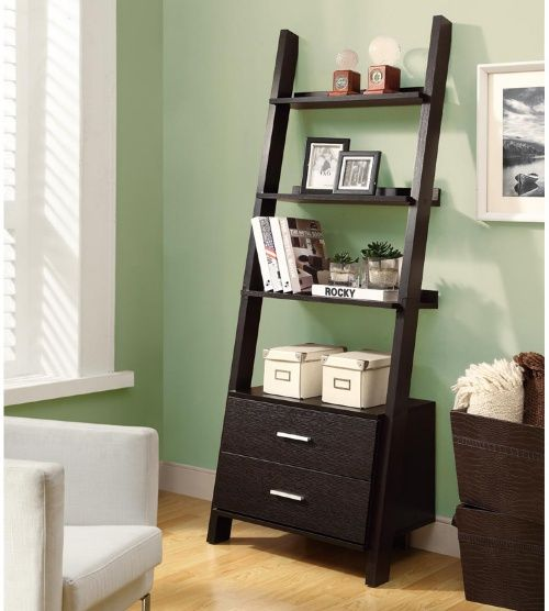 Monarch 69 in. Ladder Bookcase with 2 Storage Drawers - Cappuccino - Lofty ideals? The Monarch 69 in. Ladder Bookcase with 2 Storage Drawers - Cappuccino cooly leans against the wall, lending your place a feel like ...
