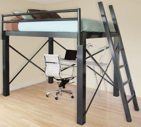 queen sized loft bed space saving pequenos espa os e grandes id ias pinterest space. Black Bedroom Furniture Sets. Home Design Ideas