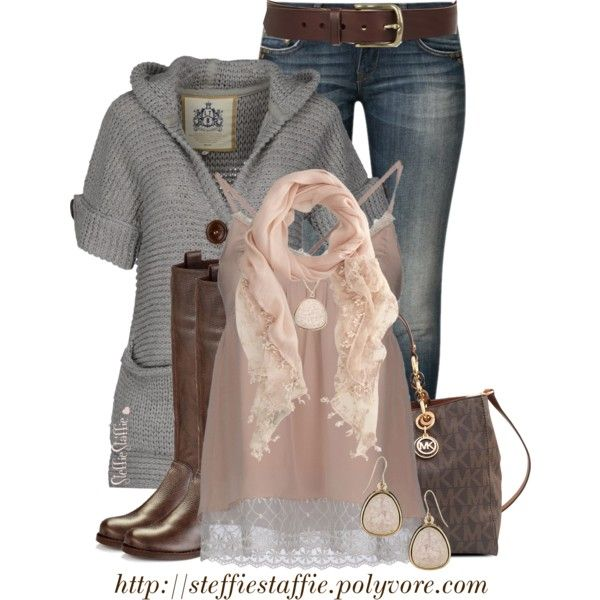 """Soft Pink & Gray"" by steffiestaffie on Polyvore"