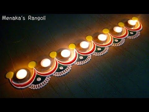 latest muggulu rangoli designs with 7 dots || small kolam designs for diwali || rangavalli - YouTube