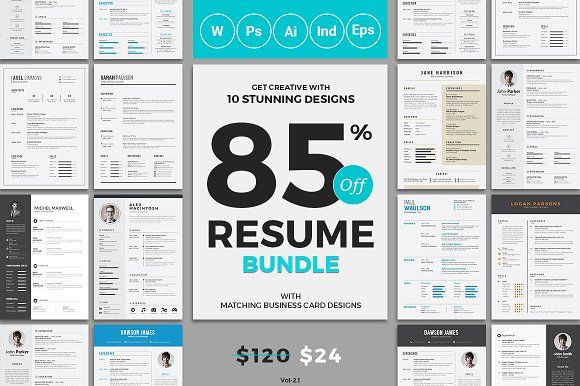10 Resume/CV Bundle - Total 10 Resume+Cover Letter and Matching Business Card Templates  The best resumes at best price is here, you will get all types of resume templates in four different formats Microsoft word, Photoshop, Illustrator and InDesign. All artwork and text are FULLY CUSTOMIZABLE.   @creativework247