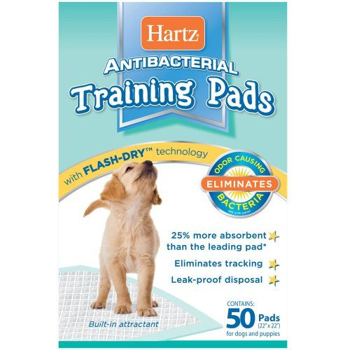 Hartz Antibacterial Training Pads for Small and Medium Dogs, 50 Pads - http://www.thepuppy.org/hartz-antibacterial-training-pads-for-small-and-medium-dogs-50-pads/