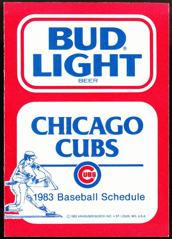 1983 CHICAGO CUBS WGN TV BUD LIGHT BEER BASEBALL POCKET SCHEDULE FREE SHIPPING