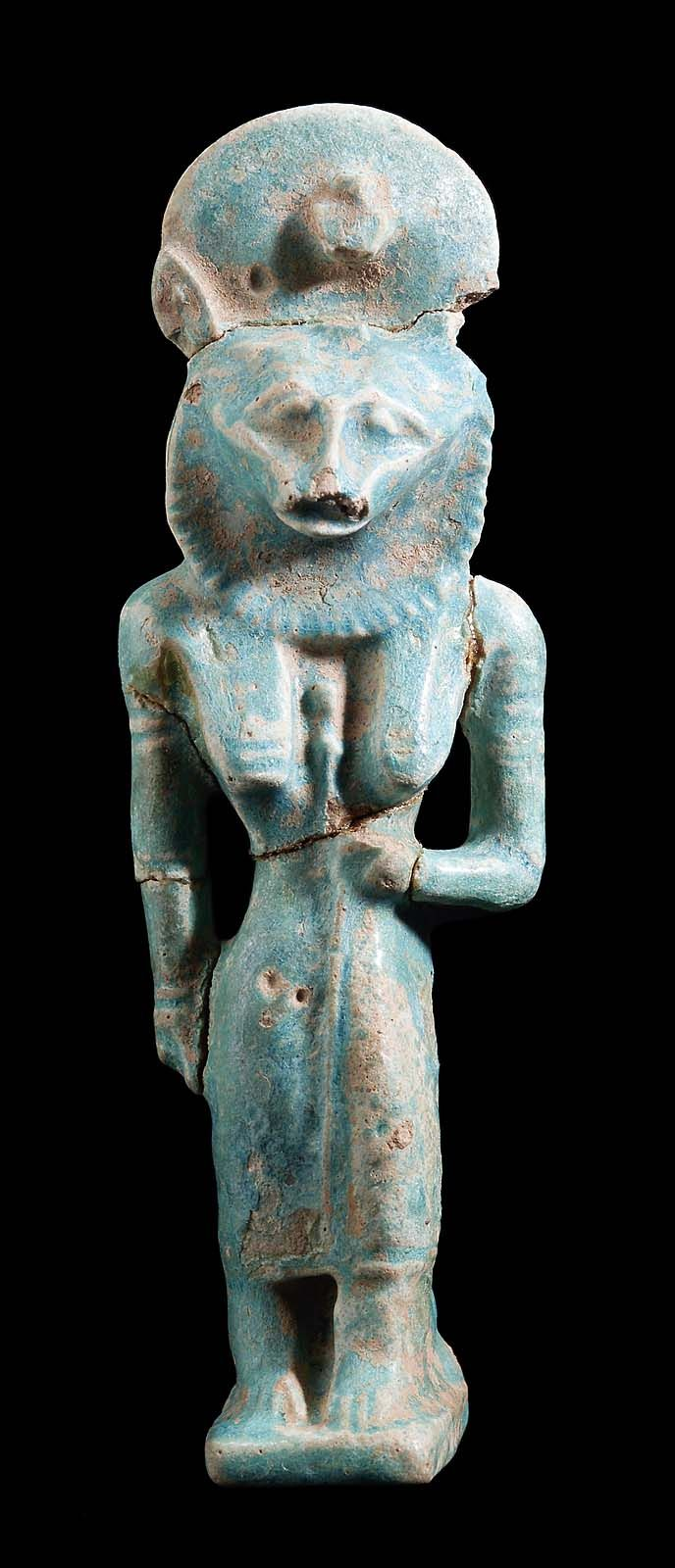 Blue-glazed faience amulet of Sakhmet (Sekhmet). Nubian. Naptan Period. Reign fo Piankhy (Piye). 743-712 B.C.    The Museum of Fine Arts, Boston