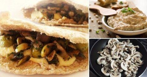 Bocadillos+de+hummus,+champiñones+y+aceitunas
