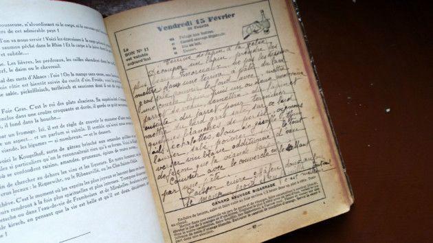 Les recettes de Simone, la cuisinière briarde, couvrent de nombreuses pages de l'agenda.