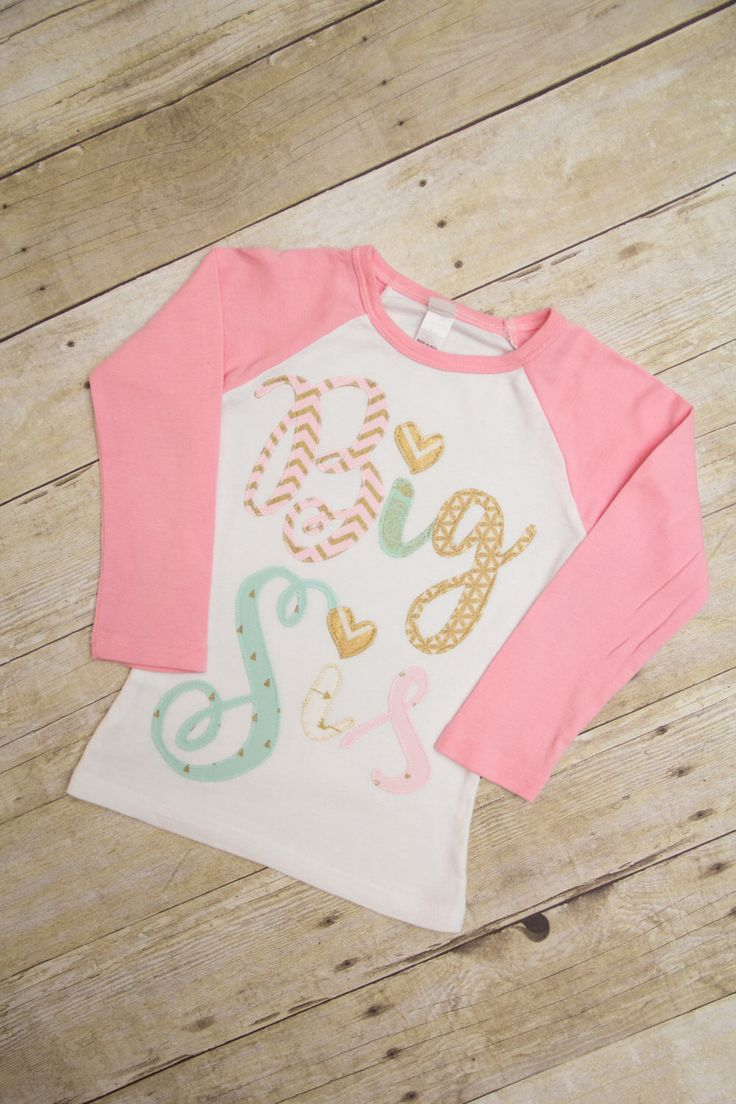 Big Sister Pink Raglan Shirt, Mint Gold & Pink Big Sis t-shirt, New baby birth announcement, Matching big sister shirt by MerryHeartDesigns on Etsy https://www.etsy.com/listing/456780664/big-sister-pink-raglan-shirt-mint-gold