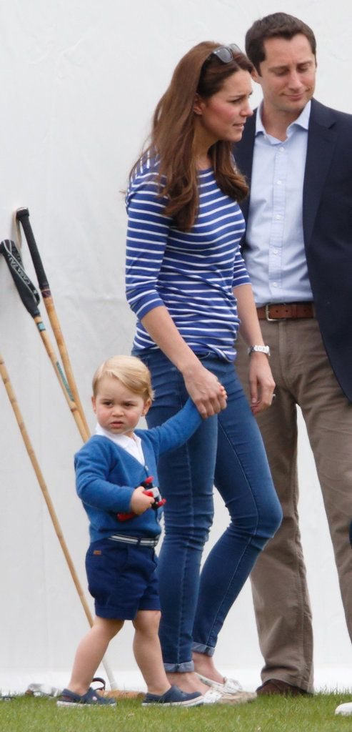 Prince George scoped out the scene when he and Kate Middleton attended Prince William's polo match with the rest of the royal family. Too cute!