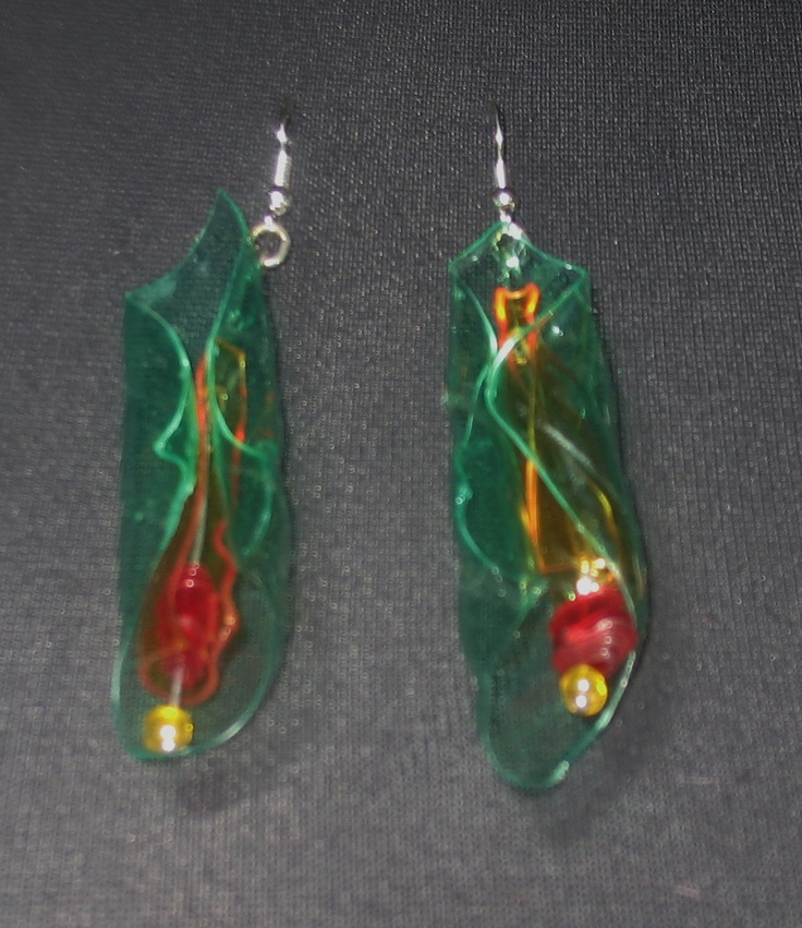 """""""Opening blossom""""  P.E.T.earrings lenght about 8 cm"""