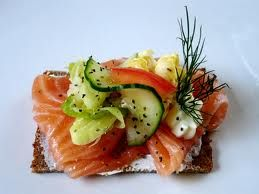Smorgasbord - gravad salmon on rye bread