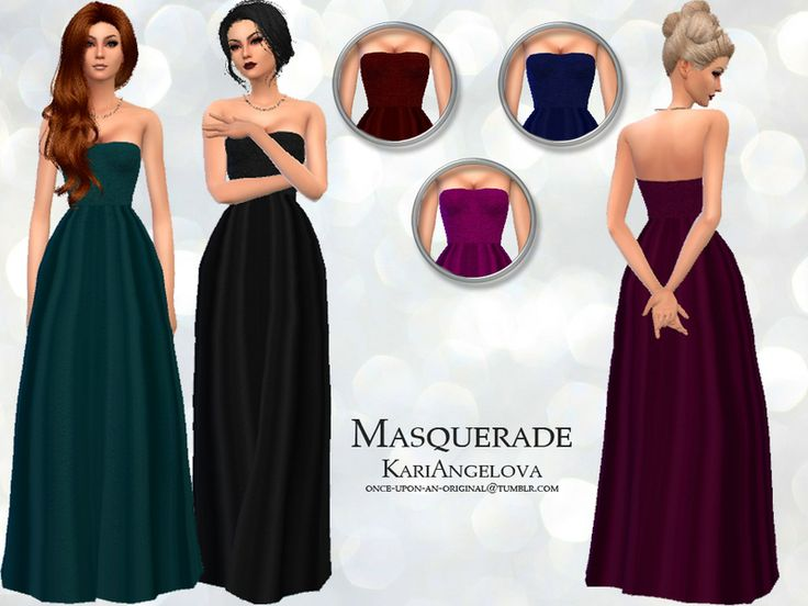 Silk formal gown with velvet bodice. 6 colour variations.  Found in TSR Category 'Sims 4 Female Formal'