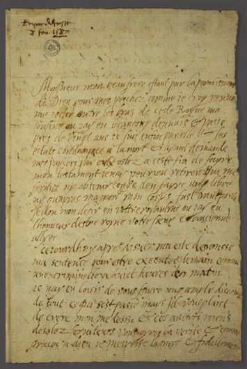 Mary, Queen of Scots' last letter--the handwriting is quite readable. There is a translation of the letter to English, and a transcription of the French on the site.