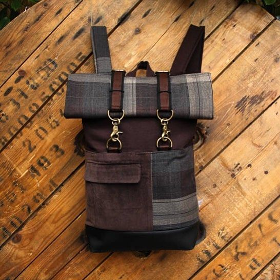 """Brown upcycled rolltop rucksack using the front pocket of a corduroy men's suit, by """"Eating the Goober"""""""