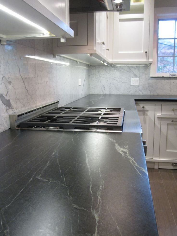 Kitchen With Marble Backsplash And Soapstone Countertops : Installing Soapstone Countertops In Your Kitchen