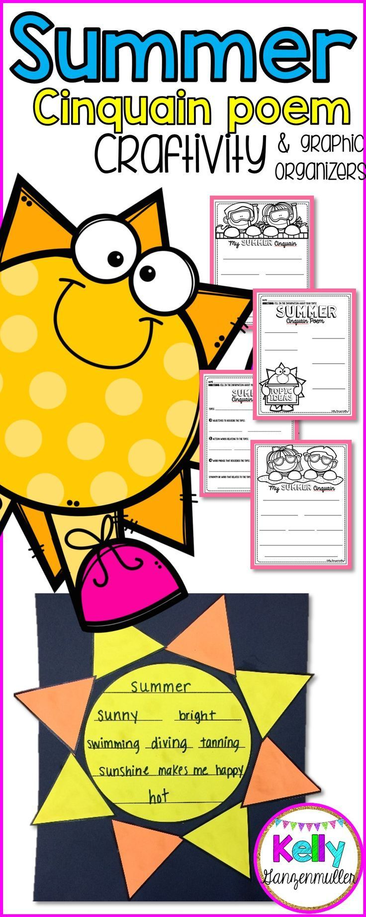 Bask in the summer sunshine with this adorable summer sun poem craftivity. Included in this packet are 3 graphic organizers to use for pre-writing and brainstorming ideas for their cinquain poem. Craftivity is perfect for end of the school year bulletin board and hallway displays.  Included:  *Brainstorming Topic Ideas Graphic Organizer. *Graphic Organizer to produce the poem. *Two writing templates with different designs for writing your poem. *Sun Craftivity templates.