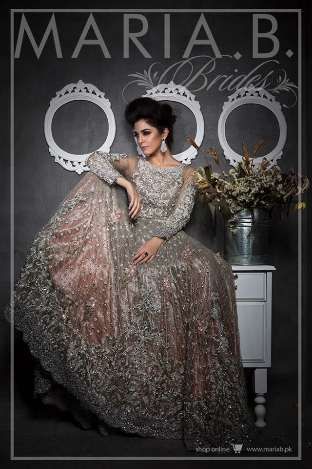 Silver and peach dress by Maria B bridal collection 2016