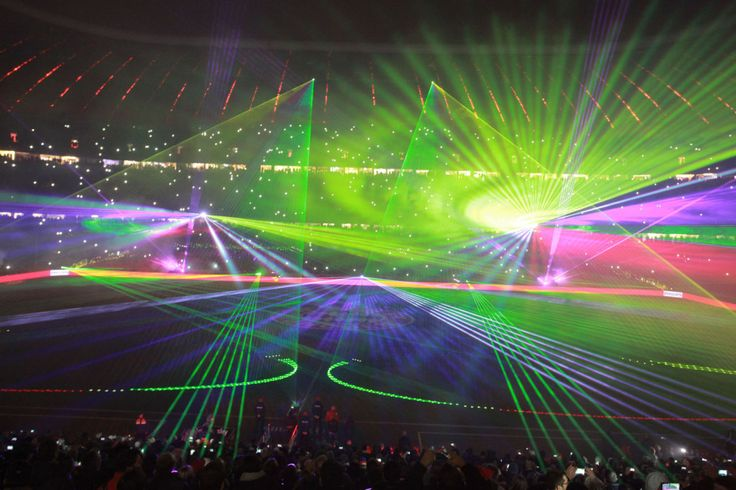 The Philips laser show at the Allianz Arena after Bayern Munich's final home game of the year.