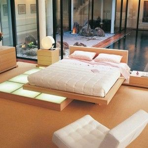 japanese bed with wood platform simple and modern - Japanese Style Bed Frame