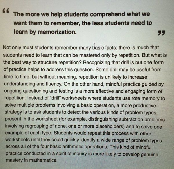 """""""I was reading """"the Basics and Inquiry Teaching"""" and this really spoke to me. #hwdsb #math @mraspinall"""" - @mrbillforrester - January 11, 2016 - This quote really spoke to me and how I want to teach in the classroom.  By showing students what I want them to learn from the literacies, hopefully they will understand it and applying it versus memorizing it."""