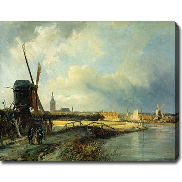YGC Cornelis Springer 'Study for View on Den Haag' Oil on Art