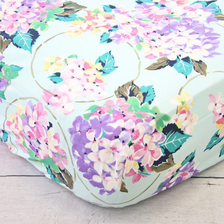 Caden Lane Baby Bedding - Crib Sheet - Holly's Hydrangea, $48.00 (http://cadenlane.com/crib-sheet-hollys-hydrangea/)