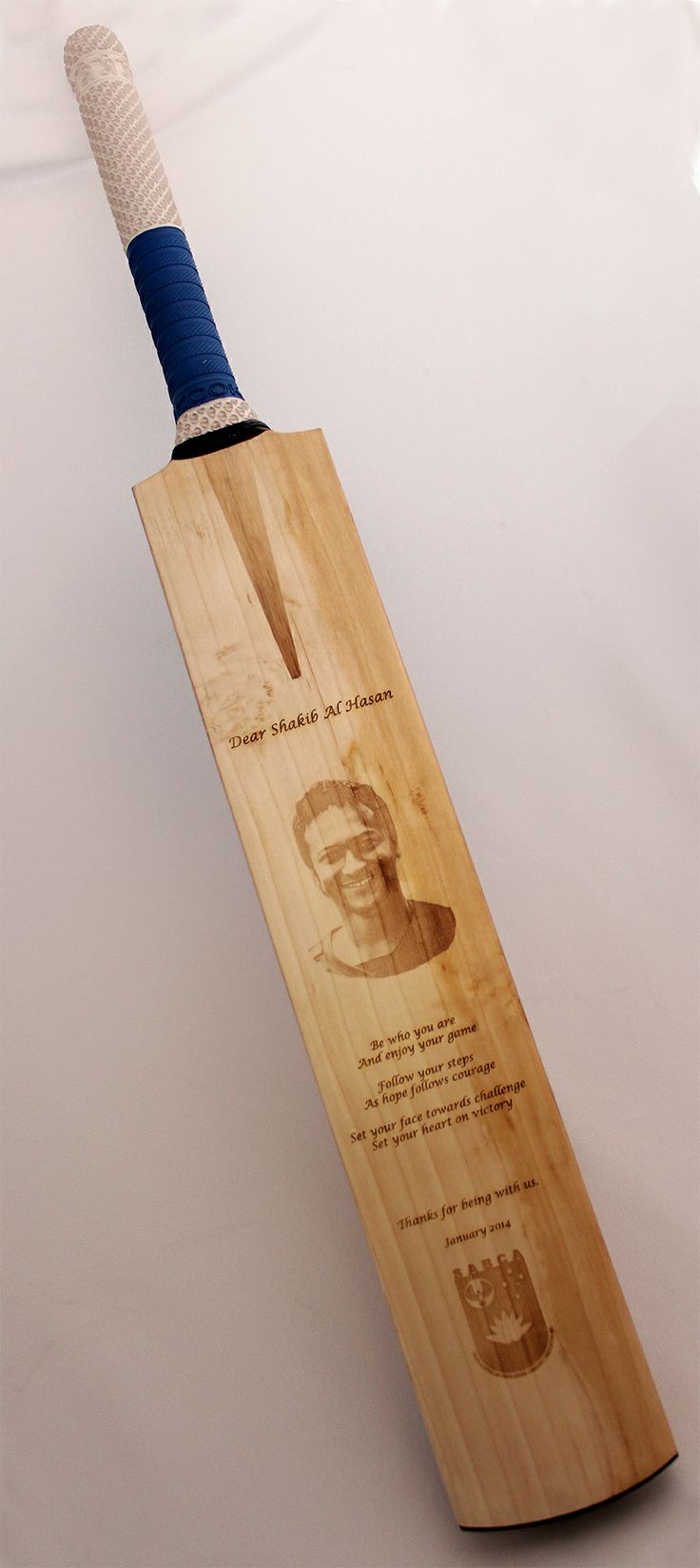 A photo engraved cricket bat we created for SABCA to give to international all rounder Shakib Al Hasan