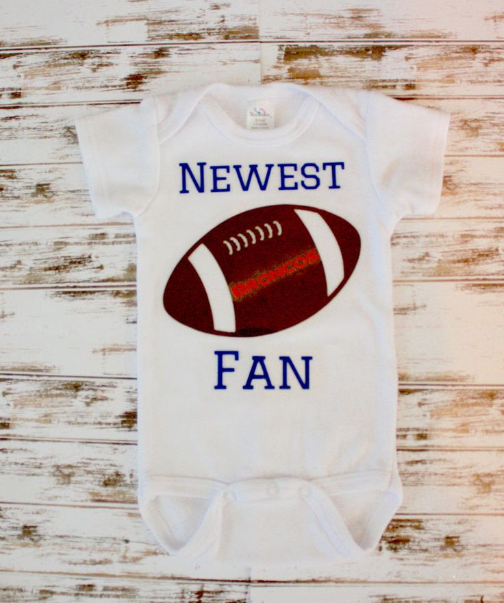 A personal favorite from my Etsy shop https://www.etsy.com/listing/248344408/newest-fan-football-onesie