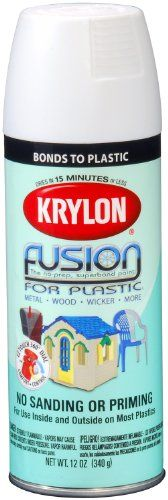 Krylon K02518000 Fusion For Plastic Aerosol Spray Paint, 12-Ounce, Flat White