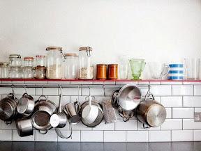 Open shelf, jars & hanging pans: Kitchens, Kitchen Organization, Kitchen Shelves, Open Shelves, Kitchen Storage, Kitchen Design, Open Shelving, Cooking Spaces