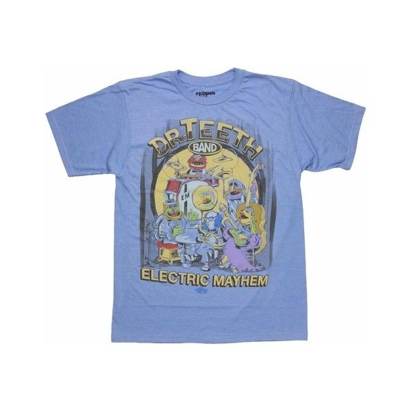 Muppets Electric Mayhem Band T Shirt Sheer (273.510 IDR) ❤ liked on Polyvore featuring tops, blue top, see through tops, transparent top, blue sheer top and sheer tops