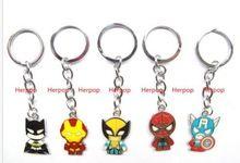 Lot 20 vengadores Spiderman batman Llavero De Metal Llavero de la mezcla Niños de dibujos animados de regalos(China (Mainland))