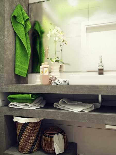 modern small bathroom decorating in eco style neutral colors with green accents