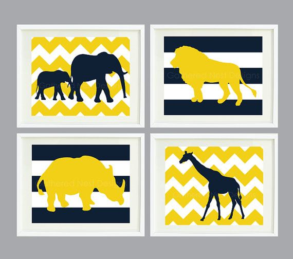 Chevron and Striped Zoo Animal Art Print Set of Four for Kids Room, Nursery, Home Decor-11x14- Navy & Mustard Yellow OR Choose colors-4-quad
