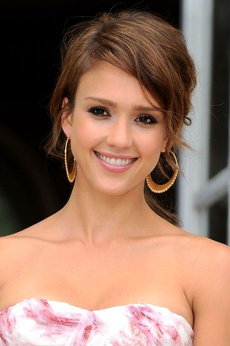 Updo Hairstyles for Short Hair   Jessica Alba Cute Soft Tousled Updo Hairstyle