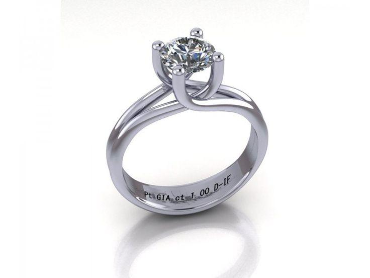 Anello solitario quattro griffe platino diamante certificato GIA carati 1.00 D-IF puro