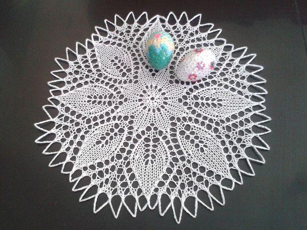 Wielkanocna serwetka do koszyczka - na drutach - DziergAnki - Obrusy