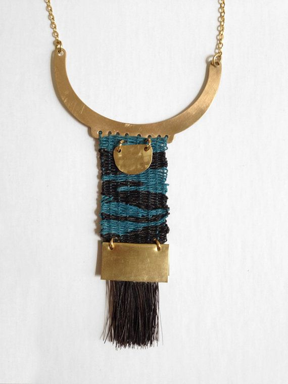 Stormy Sea Woven Necklace by Rachel Gottesman, Heddle & Needle