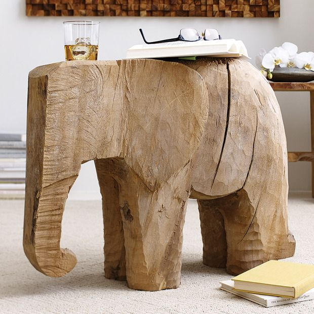 Chiseled Elephant Accent Table