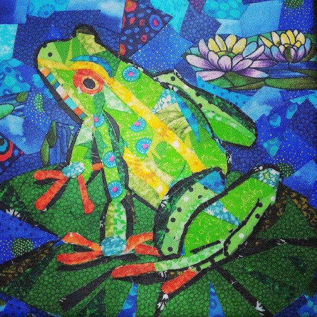 #fabricart #fabricmosaic #frog | by Joolz21 (julie)