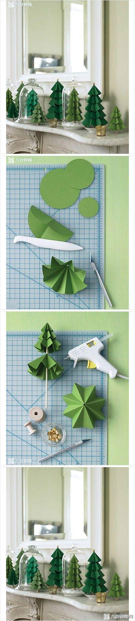 DIY Árbol de navidad realizado con cartulina. Fuente: duitang