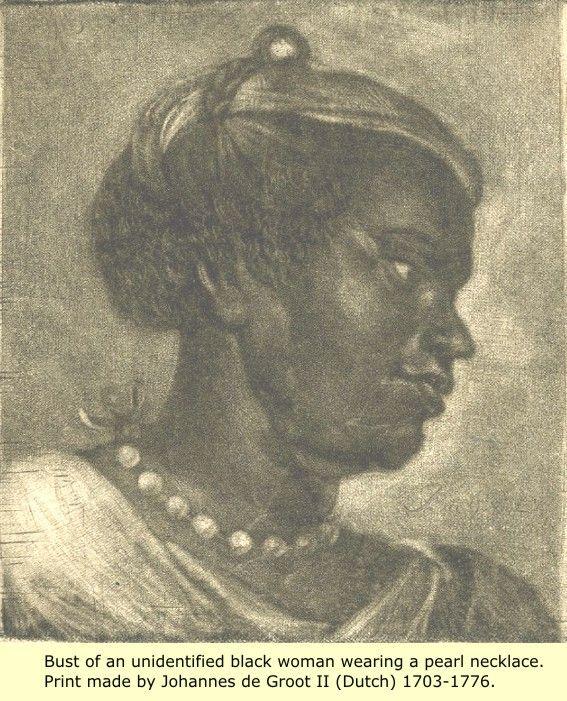 A black woman wearing a pearl necklace, in a print by Dutch artist Johannes de Groot II (1703-1776)