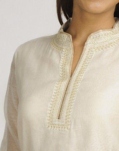 Silk Cotton Chanderi Achkan Embroidery Mini Kurta
