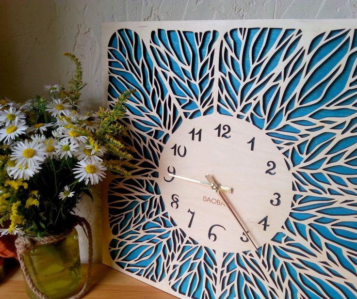 "Wooden wall clocks ""Leaves"" by BAOBAB. ==========================   Авторские настенные часы ""Leaves"" студии BAOBAB."